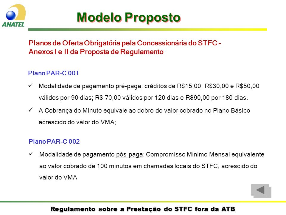 Regulamento sobre a Prestação do STFC fora da ATB Plano PAR-C 001 Modalidade de pagamento pré-paga: créditos de R$15,00; R$30,00 e R$50,00 válidos por