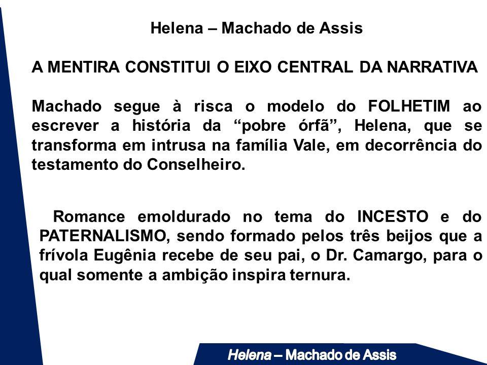 Helena – Machado de Assis A MENTIRA CONSTITUI O EIXO CENTRAL DA NARRATIVA Machado segue à risca o modelo do FOLHETIM ao escrever a história da pobre ó
