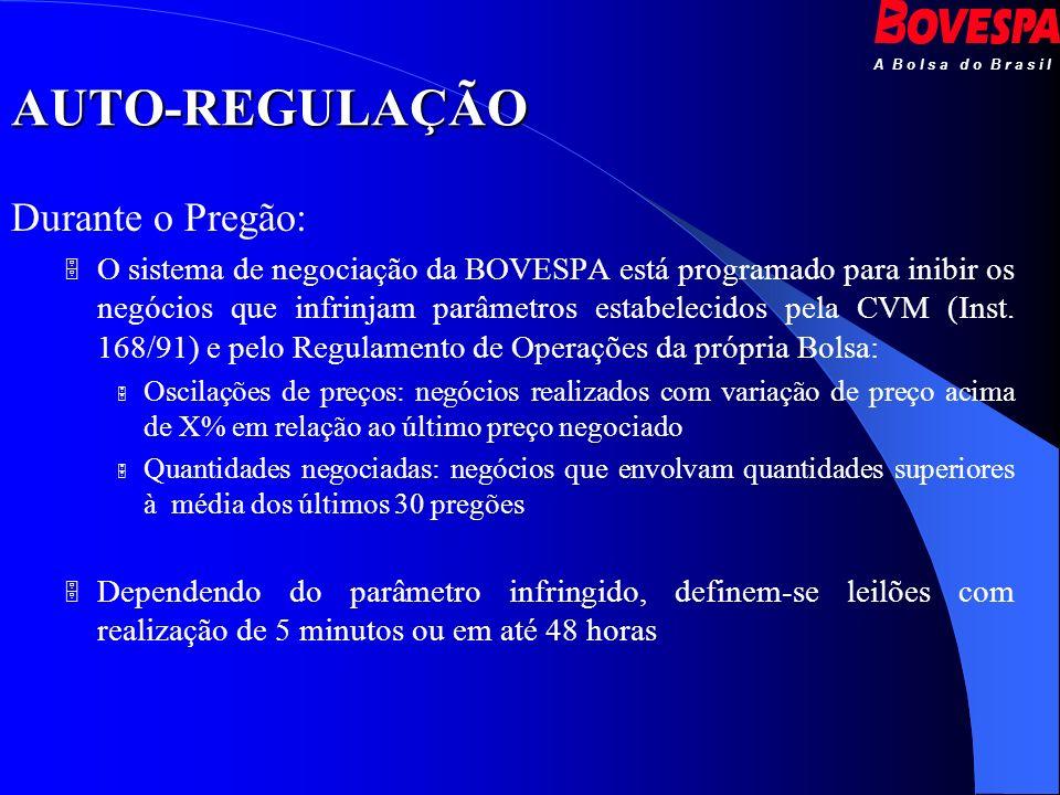 A B o l s a d o B r a s i l AUTO-REGULAÇÃO Durante o Pregão: O sistema de negociação da BOVESPA está programado para inibir os negócios que infrinjam