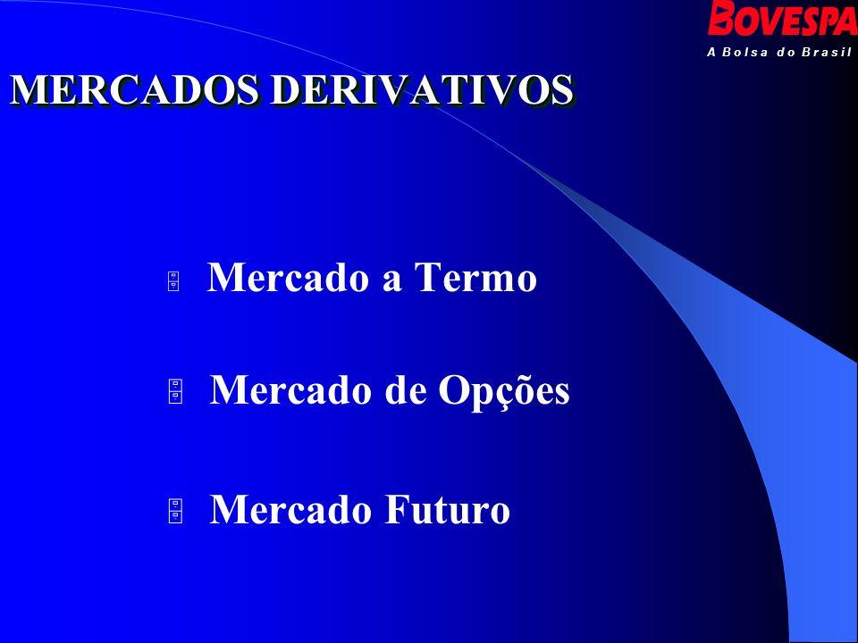 A B o l s a d o B r a s i l Mercado a Termo Mercado de Opções Mercado Futuro MERCADOS DERIVATIVOS
