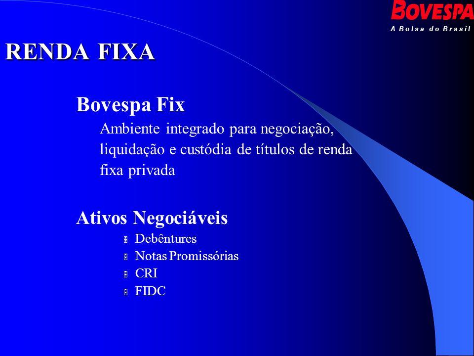 A B o l s a d o B r a s i l Bovespa Fix Ambiente integrado para negociação, liquidação e custódia de títulos de renda fixa privada Ativos Negociáveis