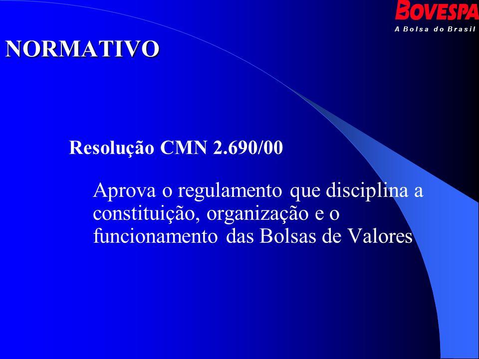 Resolução CMN 2.690/00 Aprova o regulamento que disciplina a constituição, organização e o funcionamento das Bolsas de Valores NORMATIVO