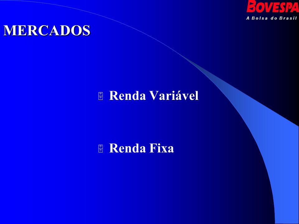 A B o l s a d o B r a s i l MERCADOS Renda Variável Renda Fixa