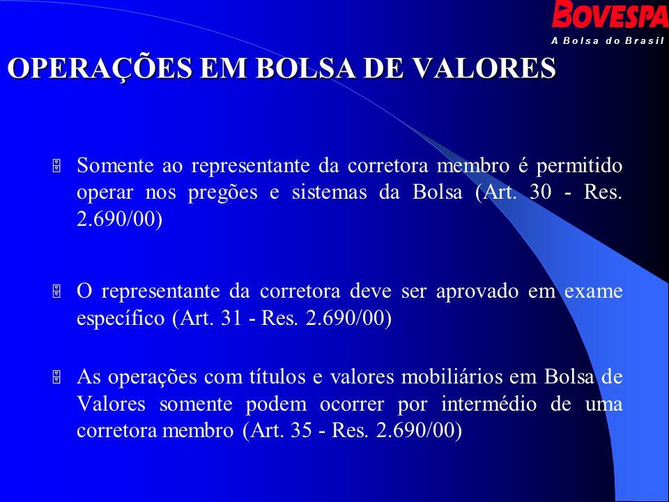 A B o l s a d o B r a s i l OPERAÇÕES EM BOLSA DE VALORES Somente ao representante da corretora membro é permitido operar nos pregões e sistemas da Bo