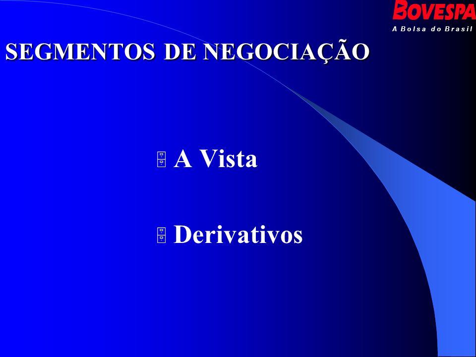 A B o l s a d o B r a s i l SEGMENTOS DE NEGOCIAÇÃO A Vista Derivativos