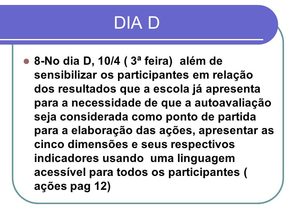 DIA D 8-No dia D, 10/4 ( 3ª feira) além de sensibilizar os participantes em relação dos resultados que a escola já apresenta para a necessidade de que