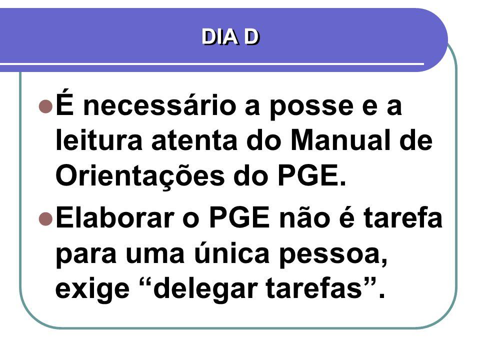 DIA D É necessário a posse e a leitura atenta do Manual de Orientações do PGE. Elaborar o PGE não é tarefa para uma única pessoa, exige delegar tarefa