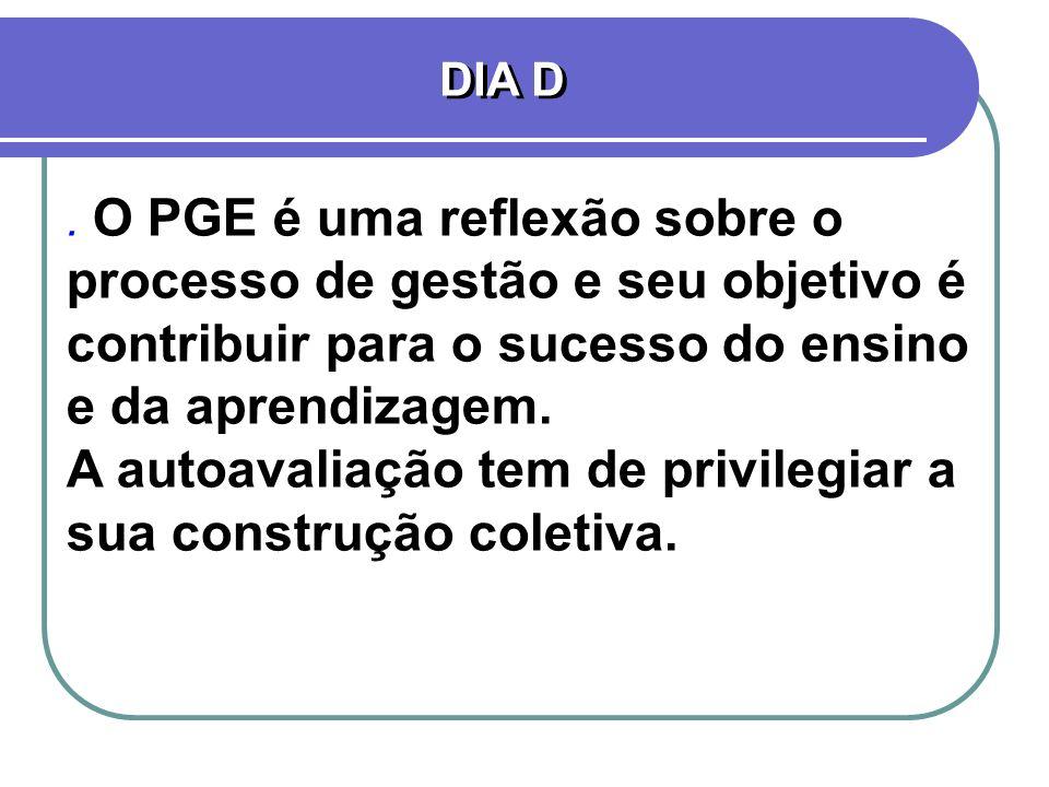 . O PGE é uma reflexão sobre o processo de gestão e seu objetivo é contribuir para o sucesso do ensino e da aprendizagem. A autoavaliação tem de privi