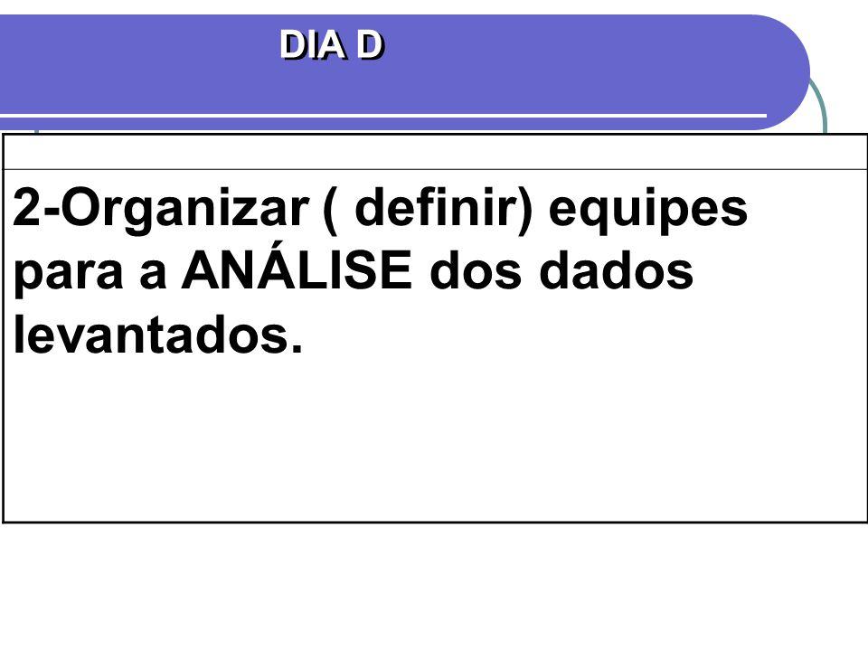 DIA D 2-Organizar ( definir) equipes para a ANÁLISE dos dados levantados.