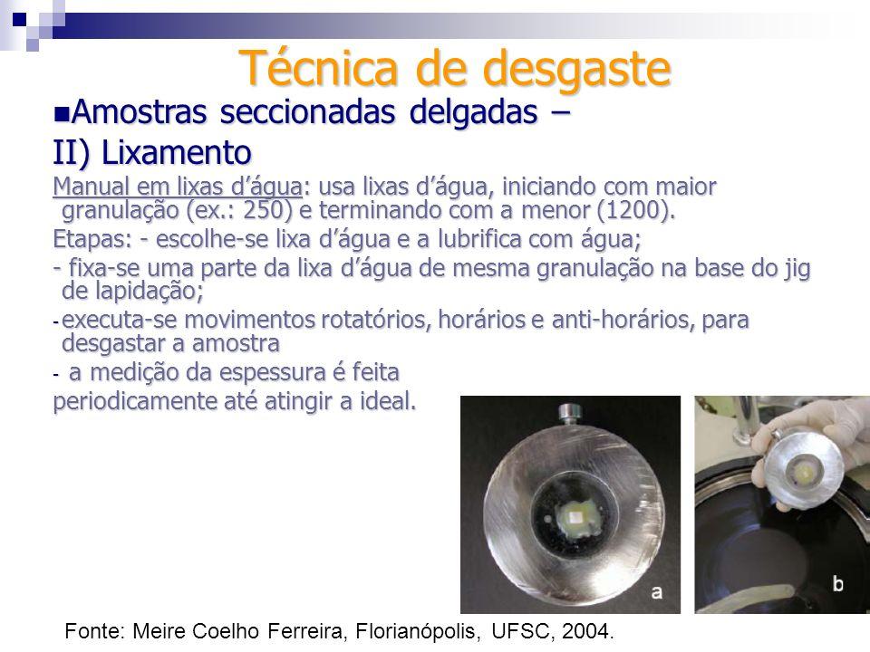 Técnica de desgaste Amostras seccionadas delgadas – Amostras seccionadas delgadas – III) Polimento Objetivos: criar superfície lisa, sem irregularidades e refletiva.