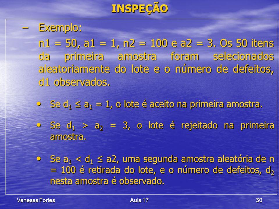 Vanessa FortesAula 1730 –Exemplo: n1 = 50, a1 = 1, n2 = 100 e a2 = 3. Os 50 itens da primeira amostra foram selecionados aleatoriamente do lote e o nú