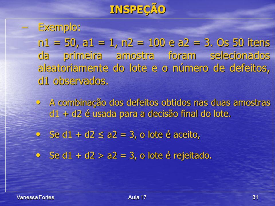 Vanessa FortesAula 1731 –Exemplo: n1 = 50, a1 = 1, n2 = 100 e a2 = 3. Os 50 itens da primeira amostra foram selecionados aleatoriamente do lote e o nú