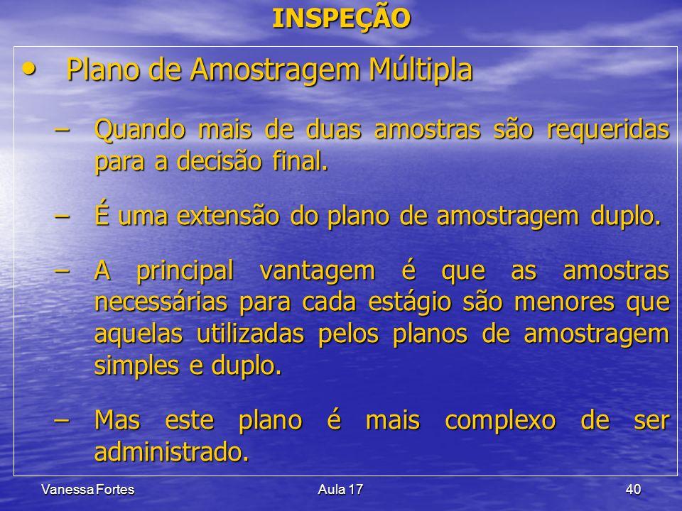 Vanessa FortesAula 1740 Plano de Amostragem Múltipla Plano de Amostragem Múltipla –Quando mais de duas amostras são requeridas para a decisão final. –