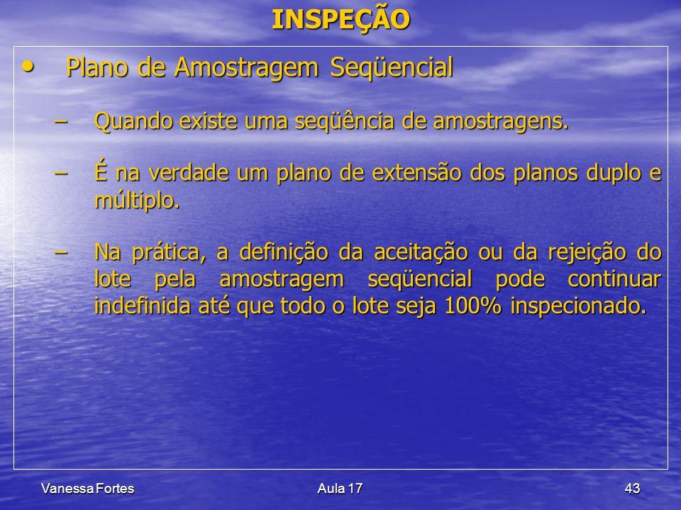 Vanessa FortesAula 1743 INSPEÇÃO Plano de Amostragem Seqüencial Plano de Amostragem Seqüencial –Quando existe uma seqüência de amostragens. –É na verd