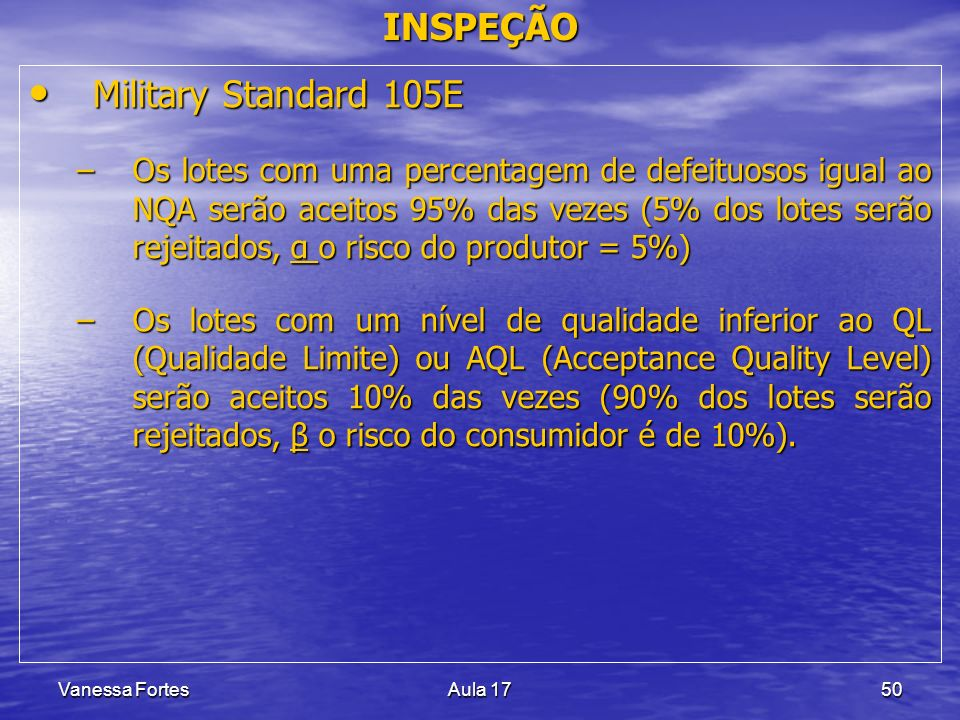 Vanessa FortesAula 1750 INSPEÇÃO Military Standard 105E Military Standard 105E –Os lotes com uma percentagem de defeituosos igual ao NQA serão aceitos