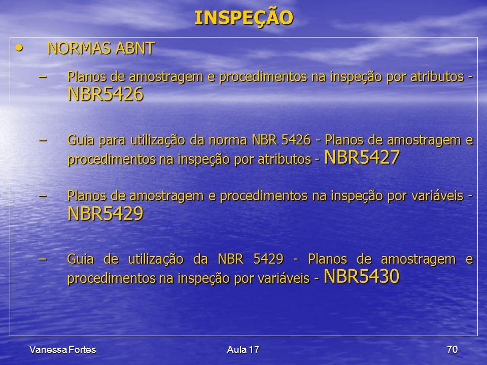 Vanessa FortesAula 1770 INSPEÇÃO NORMAS ABNT NORMAS ABNT –Planos de amostragem e procedimentos na inspeção por atributos - NBR5426 –Guia para utilizaç