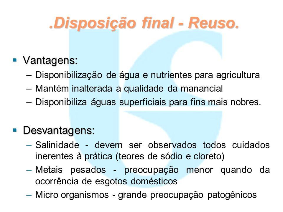 .Disposição final - Reuso. Vantagens: Vantagens: – –Disponibilização de água e nutrientes para agricultura – –Mantém inalterada a qualidade da mananci