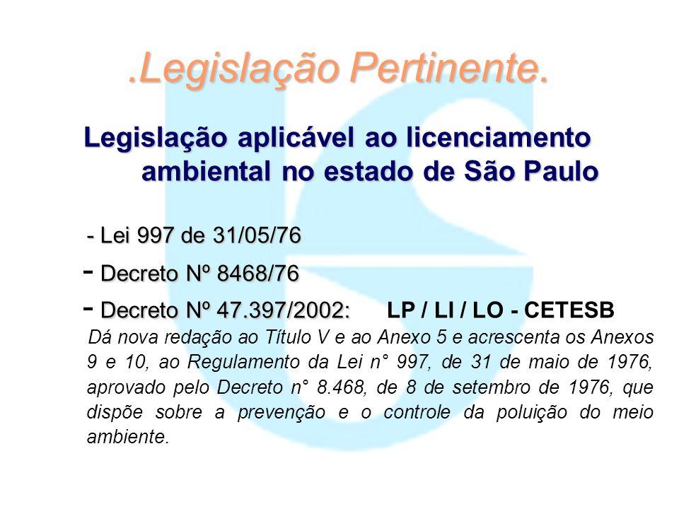 .Legislação Pertinente. Legislação aplicável ao licenciamento ambiental no estado de São Paulo - Lei 997 de 31/05/76 Decreto Nº 8468/76 - Decreto Nº 8