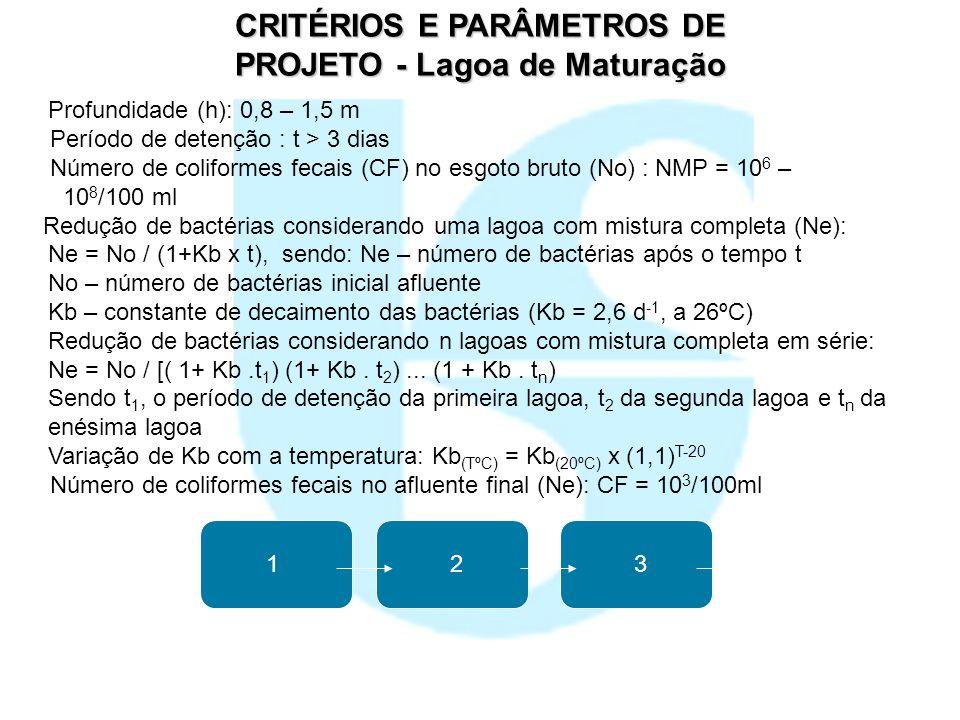 CRITÉRIOS E PARÂMETROS DE PROJETO - Lagoa de Maturação Profundidade (h): 0,8 – 1,5 m Período de detenção : t > 3 dias Número de coliformes fecais (CF)