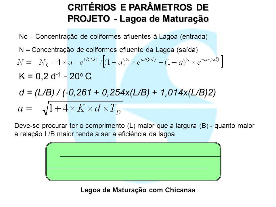 CRITÉRIOS E PARÂMETROS DE PROJETO - Lagoa de Maturação K = 0,2 d -1 - 20 o C d = (L/B) / (-0,261 + 0,254x(L/B) + 1,014x(L/B)2) No – Concentração de co