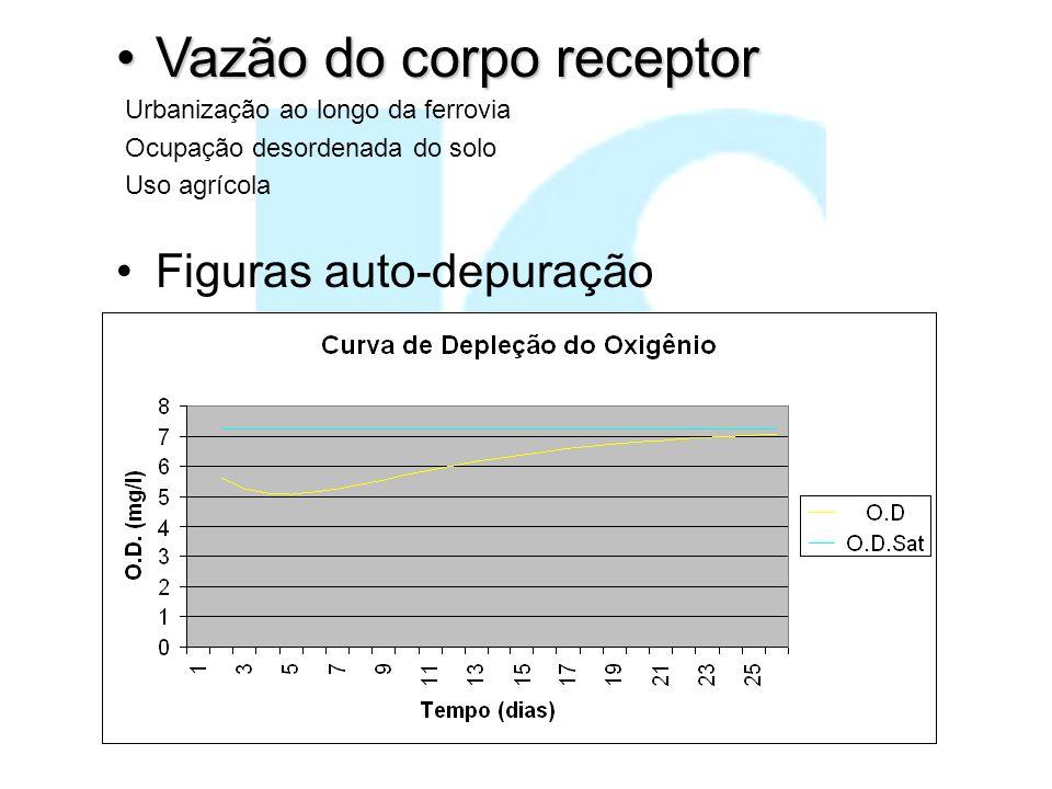 Vazão do corpo receptorVazão do corpo receptor Figuras auto-depuração Urbanização ao longo da ferrovia Ocupação desordenada do solo Uso agrícola