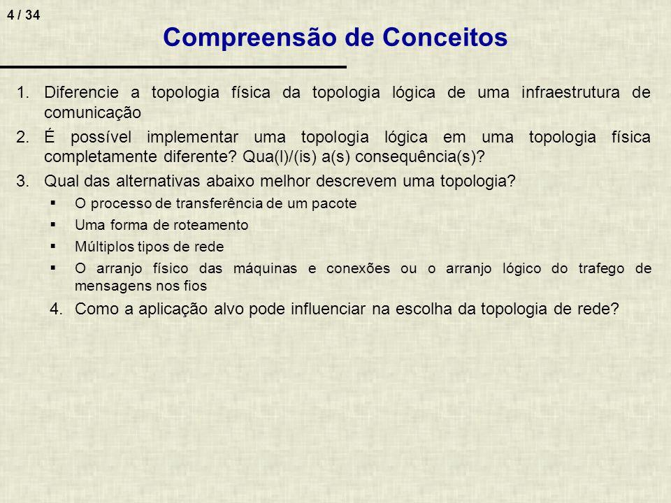 4 / 34 Compreensão de Conceitos 1.Diferencie a topologia física da topologia lógica de uma infraestrutura de comunicação 2.É possível implementar uma