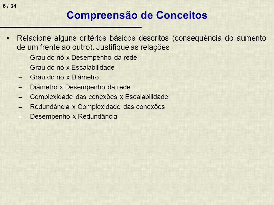 6 / 34 Compreensão de Conceitos Relacione alguns critérios básicos descritos (consequência do aumento de um frente ao outro). Justifique as relações –