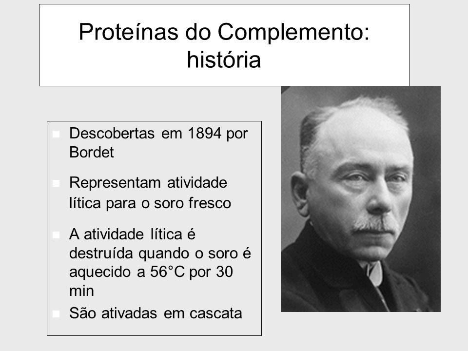 Proteínas do Complemento: história n Descobertas em 1894 por Bordet n Representam atividade lítica para o soro fresco n A atividade lítica é destruída quando o soro é aquecido a 56°C por 30 min n São ativadas em cascata