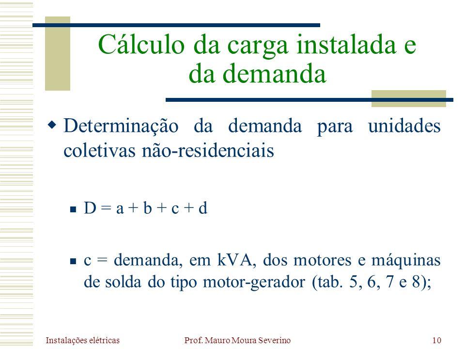 Instalações elétricas Prof. Mauro Moura Severino10 Determinação da demanda para unidades coletivas não-residenciais D = a + b + c + d c = demanda, em