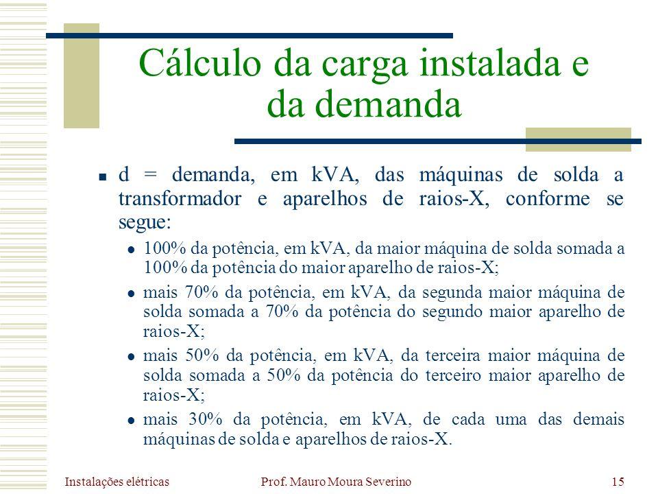 Instalações elétricas Prof. Mauro Moura Severino15 d = demanda, em kVA, das máquinas de solda a transformador e aparelhos de raios-X, conforme se segu