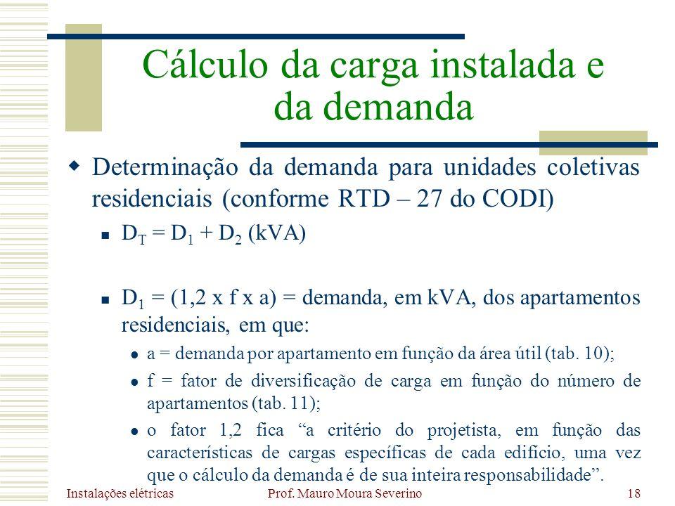 Instalações elétricas Prof. Mauro Moura Severino18 Determinação da demanda para unidades coletivas residenciais (conforme RTD – 27 do CODI) D T = D 1