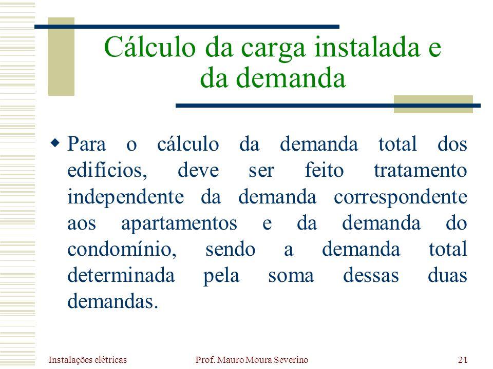 Instalações elétricas Prof. Mauro Moura Severino21 Para o cálculo da demanda total dos edifícios, deve ser feito tratamento independente da demanda co