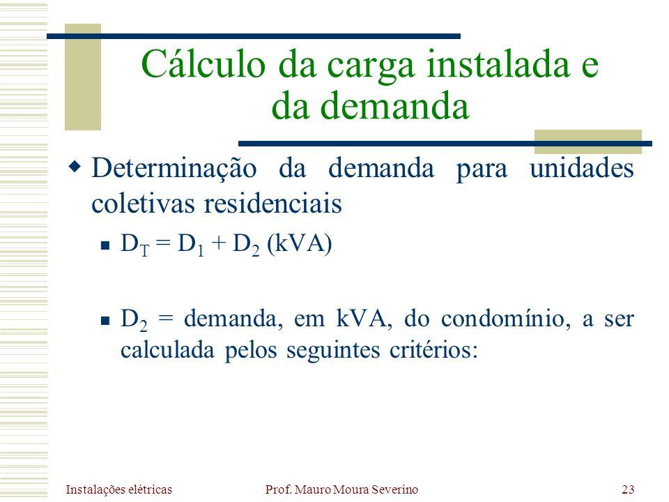 Instalações elétricas Prof. Mauro Moura Severino23 Determinação da demanda para unidades coletivas residenciais D T = D 1 + D 2 (kVA) D 2 = demanda, e