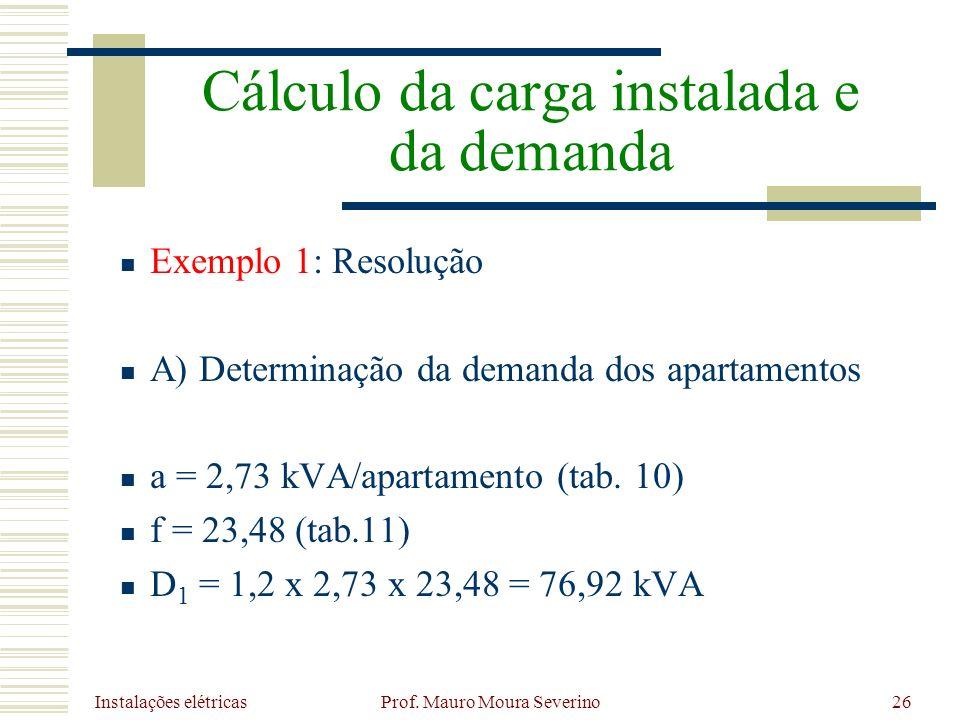 Instalações elétricas Prof. Mauro Moura Severino26 Exemplo 1: Resolução A) Determinação da demanda dos apartamentos a = 2,73 kVA/apartamento (tab. 10)