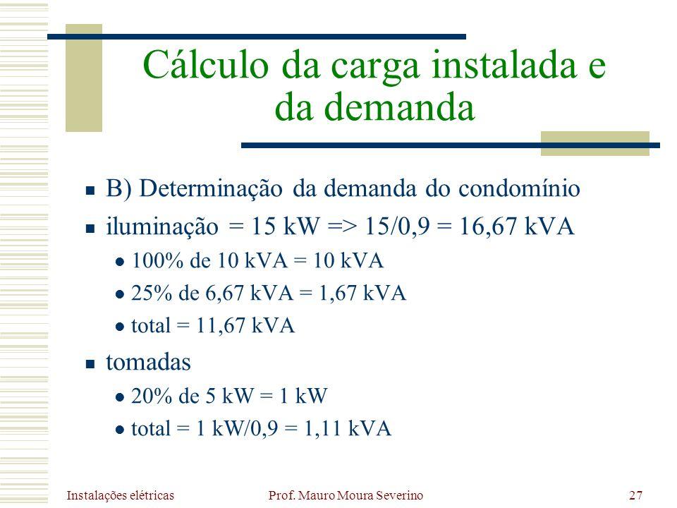 Instalações elétricas Prof. Mauro Moura Severino27 B) Determinação da demanda do condomínio iluminação = 15 kW => 15/0,9 = 16,67 kVA 100% de 10 kVA =