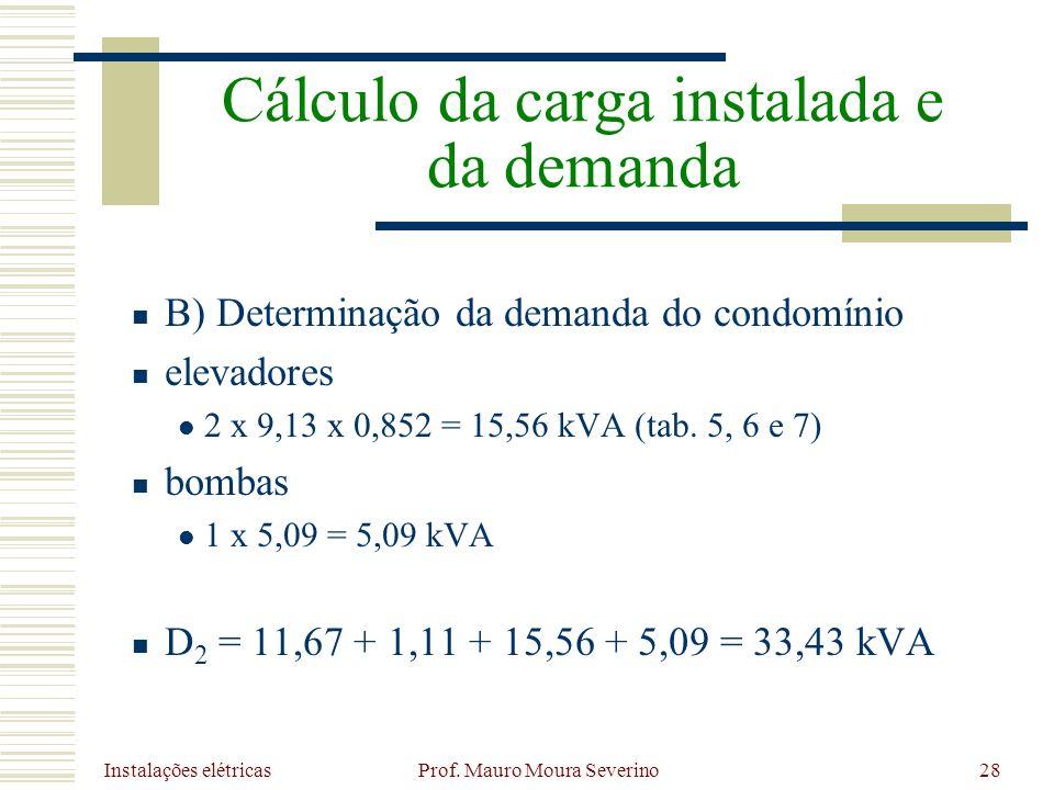 Instalações elétricas Prof. Mauro Moura Severino28 B) Determinação da demanda do condomínio elevadores 2 x 9,13 x 0,852 = 15,56 kVA (tab. 5, 6 e 7) bo