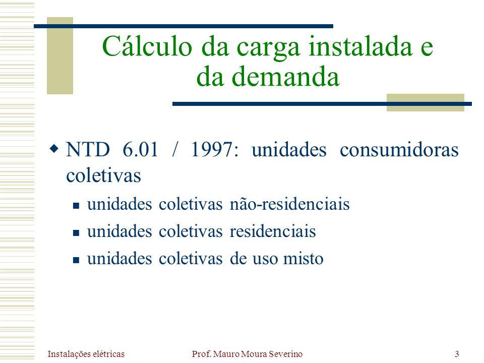 Instalações elétricas Prof. Mauro Moura Severino3 NTD 6.01 / 1997: unidades consumidoras coletivas unidades coletivas não-residenciais unidades coleti