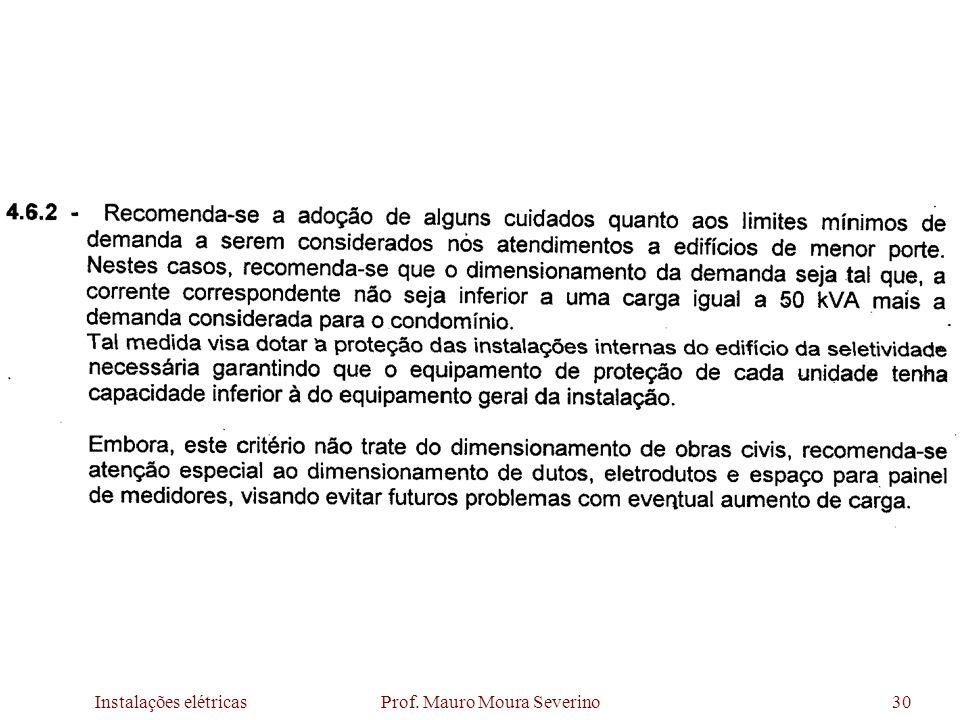 Instalações elétricas Prof. Mauro Moura Severino30