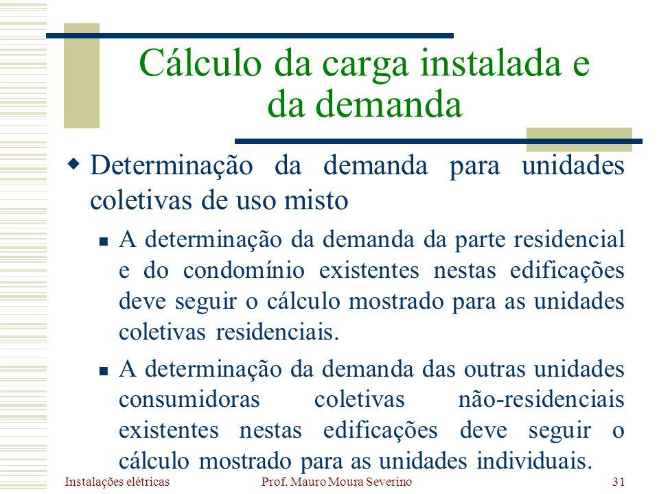 Instalações elétricas Prof. Mauro Moura Severino31 Determinação da demanda para unidades coletivas de uso misto A determinação da demanda da parte res