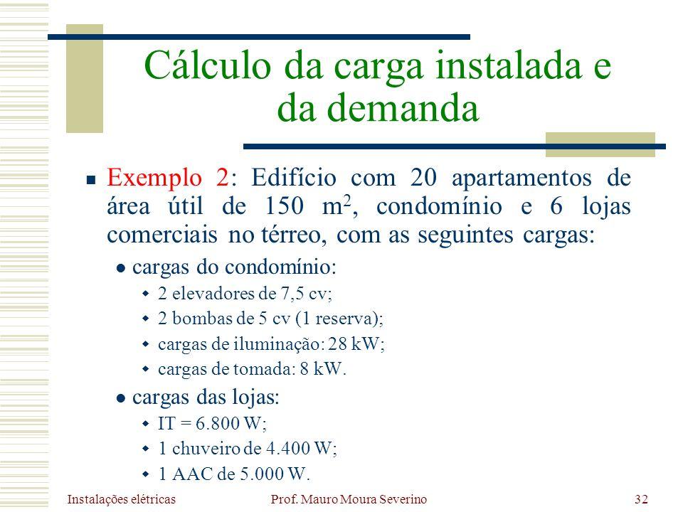 Instalações elétricas Prof. Mauro Moura Severino32 Exemplo 2: Edifício com 20 apartamentos de área útil de 150 m 2, condomínio e 6 lojas comerciais no