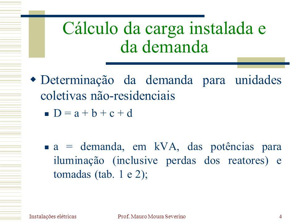 Instalações elétricas Prof. Mauro Moura Severino4 Determinação da demanda para unidades coletivas não-residenciais D = a + b + c + d a = demanda, em k