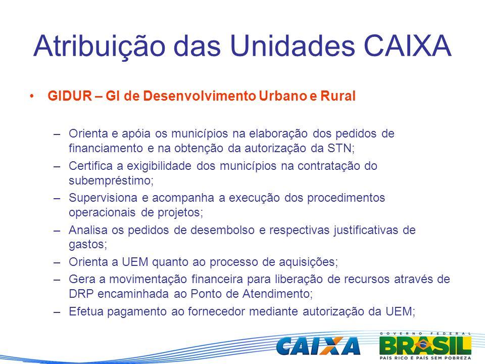 Atribuição das Unidades CAIXA GIDUR – GI de Desenvolvimento Urbano e Rural –Orienta e apóia os municípios na elaboração dos pedidos de financiamento e