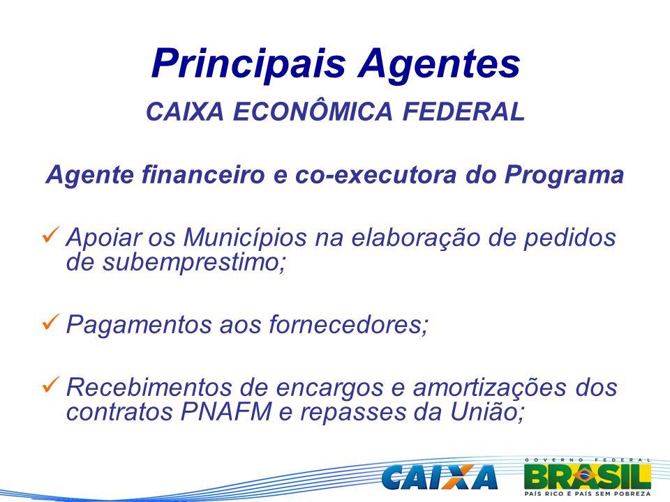 Principais Agentes CAIXA ECONÔMICA FEDERAL Agente financeiro e co-executora do Programa Apoiar os Municípios na elaboração de pedidos de subemprestimo