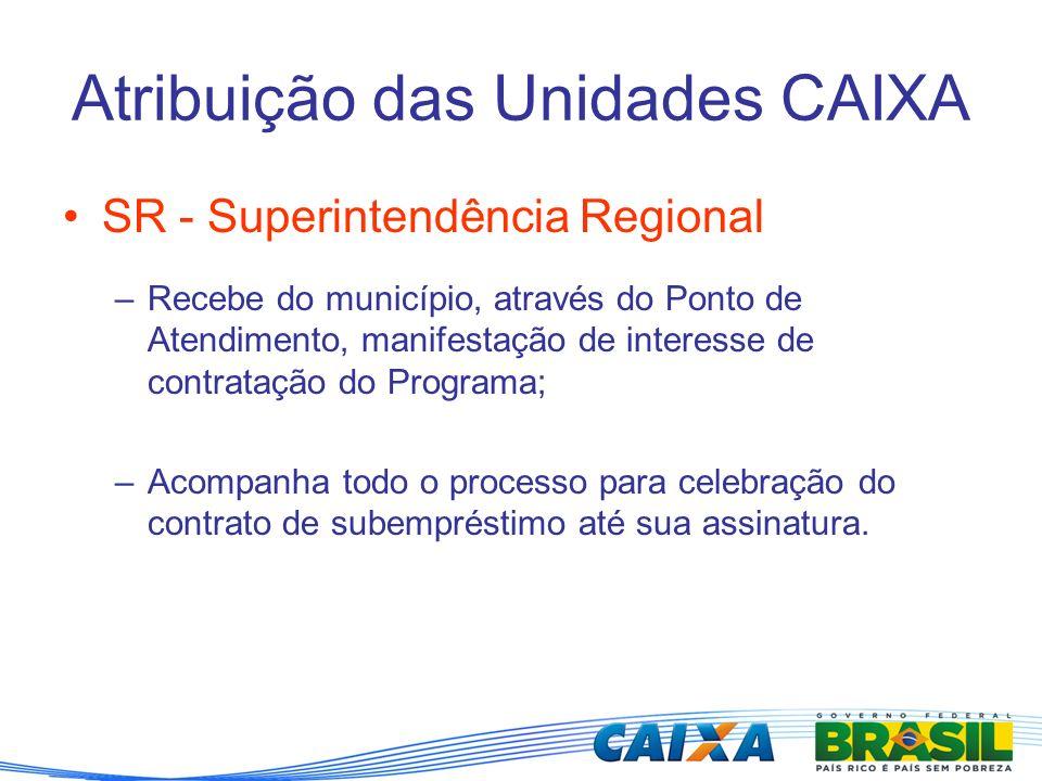 Atribuição das Unidades CAIXA SR - Superintendência Regional –Recebe do município, através do Ponto de Atendimento, manifestação de interesse de contr