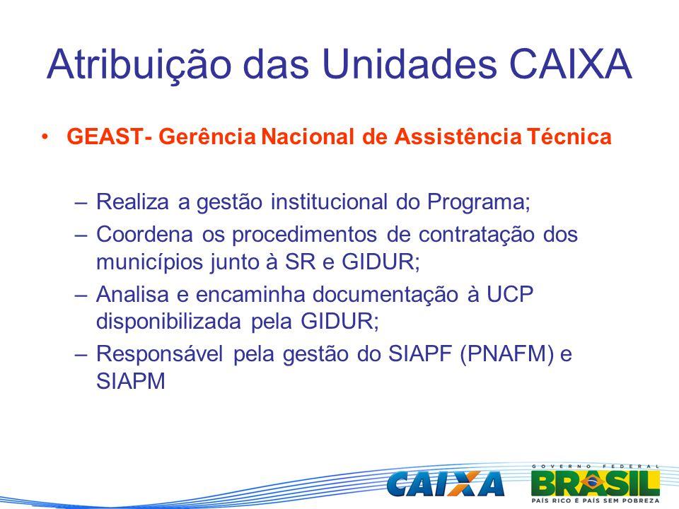 Atribuição das Unidades CAIXA GEAST- Gerência Nacional de Assistência Técnica –Realiza a gestão institucional do Programa; –Coordena os procedimentos