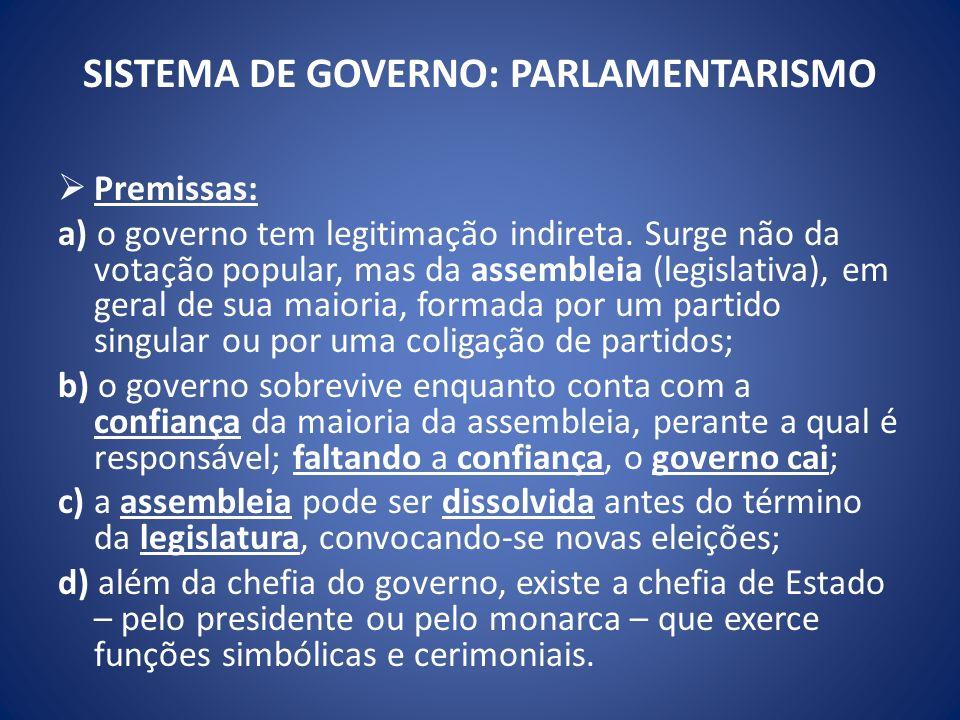 SISTEMA DE GOVERNO: PARLAMENTARISMO Premissas: a) o governo tem legitimação indireta. Surge não da votação popular, mas da assembleia (legislativa), e