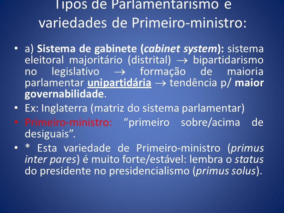 Tipos de Parlamentarismo e variedades de Primeiro-ministro: a) Sistema de gabinete (cabinet system): sistema eleitoral majoritário (distrital) biparti