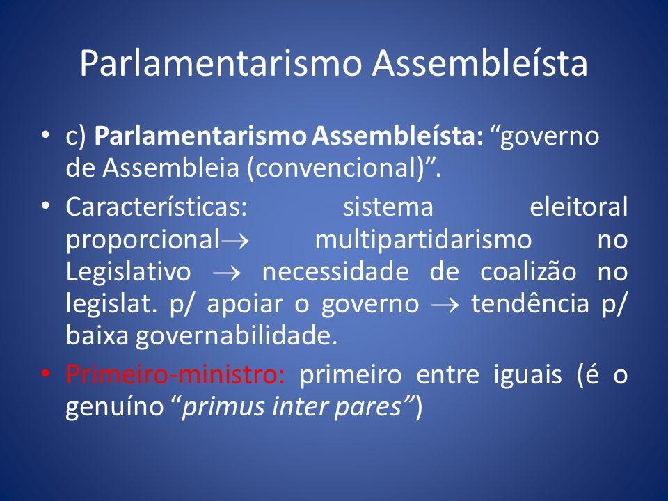 Parlamentarismo Assembleísta c) Parlamentarismo Assembleísta: governo de Assembleia (convencional). Características: sistema eleitoral proporcional mu