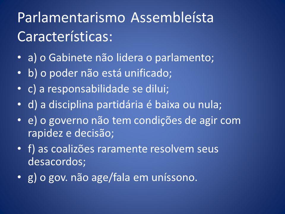 Parlamentarismo Assembleísta Características: a) o Gabinete não lidera o parlamento; b) o poder não está unificado; c) a responsabilidade se dilui; d)