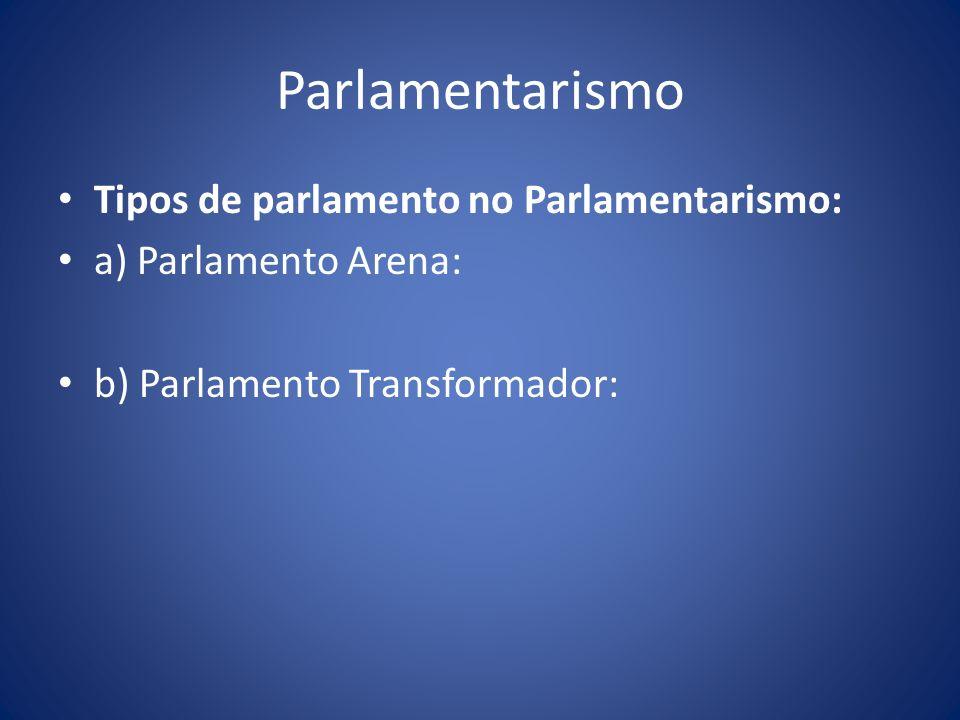 Parlamentarismo Tipos de parlamento no Parlamentarismo: a) Parlamento Arena: b) Parlamento Transformador: